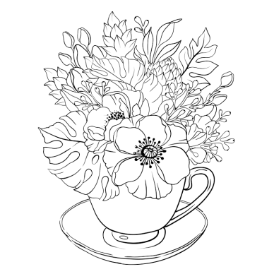 Illustration of a teacup with flowers and plants growing out of it